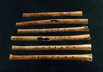 Ancient bone flutes excavated at Jiahu, China