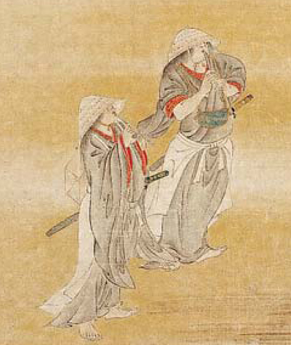 Close view of two komosō in Picture of Parasol-maker & Komosō